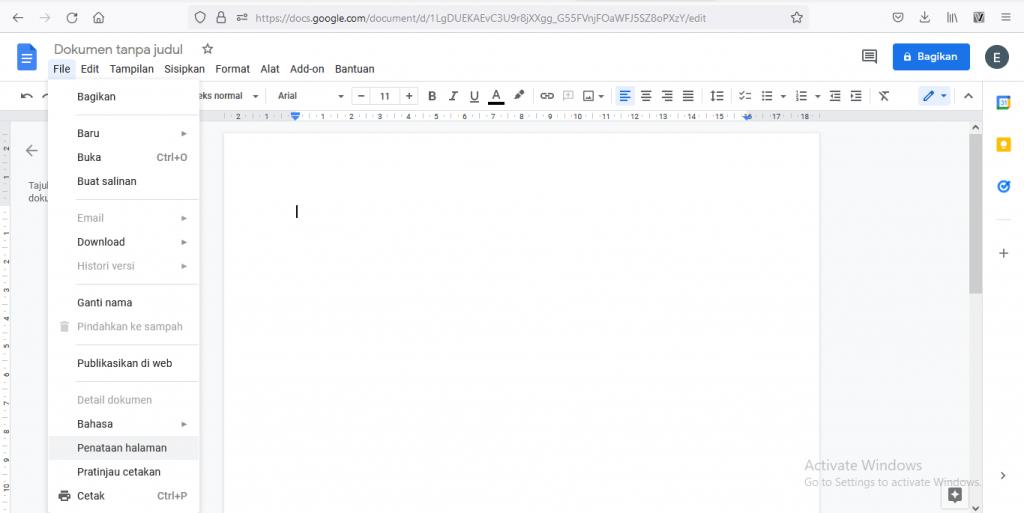 mengatur margin 4433 di Google Docs